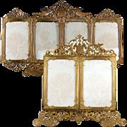 SOLD RARE Antique French Carte De Visite Photo Frame, Holds 6 Photos, Ornate Folding, Ormolu