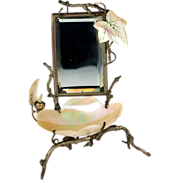 SOLD Antique French Vanity Stand, Mirror & Mother of Pearl Shell Trinket Stand