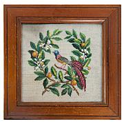 SALE Antique Victorian Beadwork Needlepoint Panel in Frame, Bead Work, Glass