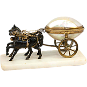 "SALE Antique French Palais Royal Horse-drawn Carriage, Mother of Pearl ""Egg"" Cart, 2"