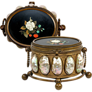 SALE Antique French jewelry Casket, Mother of Pearl and Italian Pietra Dura Plaque, c. 1820-50