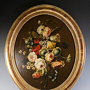 "SOLD Antique Oil Painting of Flowers, Flemish Still Life is 22"" x 19.5"" oval Fine Fr"