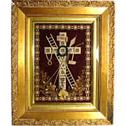 "SALE Rare Antique French 19.5"" Gilt Framed Punchwork Reliquary, Crucifix, Sealed Back w/"