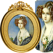 SALE Antique French Portrait Miniature of Young Beauty, Gilt Bronze Frame & Mat, c. 1830-40