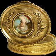 SOLD Antique French Gilt Bronze Jewel Casket, Oval w/ Hand Painted Portrait Miniature