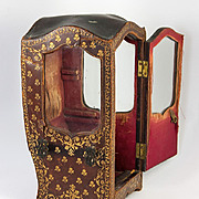 SALE Antique French Gold-Embossed Leather Covered Miniature Sedan Chair, Vitrine