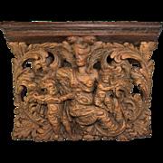 SALE Antique Hand Carved 1700s Psyche & Cupid, Putti Bracket Shelf, Tuscan Sculpture