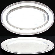 """SALE Elegant Vintage French Sterling Silver 18"""" x 11.75"""" Oval Serving Tray, 1134gm"""