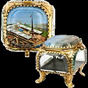 SOLD Antique French Eglomise Souvenir of Paris Expo 1889, Eiffel Tower, Jewelry Box, Casket