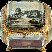 SOLD Superb Antique Eglomise Box, Jewelry Casket Souvenir of Paris Architecture Invalides?