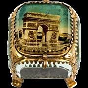 SOLD Antique French Eglomise Souvenir Box, Jewelry Casket, Arch de Triomphe, Paris