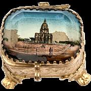 SALE Antique French Jewelry Box, Ring Casket, Eglomise Souvenir, Invalides