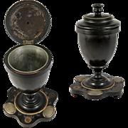 SALE Antique French Napoleon III Era Smoker's Tobacco Urn, Box, Casket & Match Striker