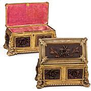 SALE Fine Antique French Box, Casket, Carved Wood Panels Set in Dore Ormolu Frame