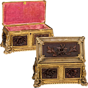 SALE Fine Antique French Box, Casket, Carved Wood Panels Set in Dore Ormolu Frame
