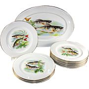 SALE 10 Fine Vintage Limoges Fish Plates and 1 Large Platter, Hand Painted on Transfer