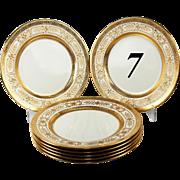 SALE Set of 7 Antique Minton Raised Encrusted Gold Plates, H2021, c.