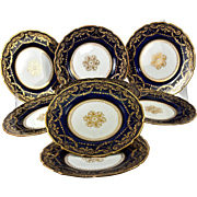 SALE 10 Antique Raised and Encrusted 22k Gold Side Plates, Royal Doulton c. 1902