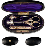 SALE Antique French Sterling Silver Sewing Set in Etui, Box, c.1850 - 1870, 18k Vermeil ...