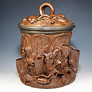 SALE Fab Antique French Pottery Smoker's Jar, Large and with Acorns, Vines - Hand Made