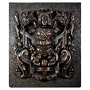 SALE RARE 1700s Hand Carved Plaque, Figural with 2 Griffens and a Caryatid Figure