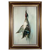 SALE Antique Oil Painting, Trompe L'Oeil, a Duck, Fruits of the Hunt Theme, Vintage Frame