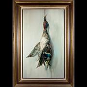 SALE Antique Oil Painting, Trompe L'Oeil, a Duck, Fruits of the Hunt Theme, Vintage ...