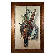 SALE Antique Oil Painting, Trompe l'Oeil of a Pheasant Cock, in Victorian Oak Frame