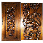 SALE Hand Carved Antique Griffen Cabinet Door, Wall Plaque, Acanthus Neo-Gothic Panel