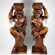 SALE Antique Pair of Hand Carved Wood Figures, Great as Candle Stands or Cabinet Supports
