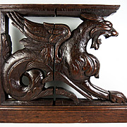 SALE Pair (2) Hand Carved Wood Griffens, 19th C. Supports for Cabinetry, HUGE and Fun