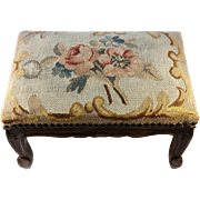 SOLD Petit Antique French Footstool, Stool, Bench, RARE Aubusson or Verdure Woven Upholstery