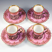 SALE Antique English 1906 Sterling Silver Putti Holders, Set of 4 Pink, Gold Demitasse Cups, S