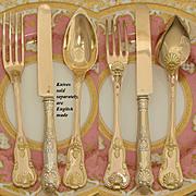 SOLD 24 pc Set of Antique French Sterling Silver & 22K Gold Vermeil Flatware: Entremet or Dess