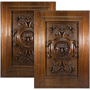 PAIR of Antique French Hand Carved Cabinet Doors, Renaissance Revival Figural Plaques (2)