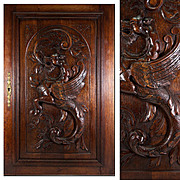 SALE Antique French Carved Wood Cabinetry Door, Plaque with Neo-Gothic Griffen