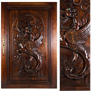 Antique French Carved Wood Cabinetry Door, Plaque with Neo-Gothic Griffen