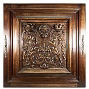 SALE Opulent Hand Carved Antique Cabinet Door, Plaque in Neo-Renaissance Manner, Figural