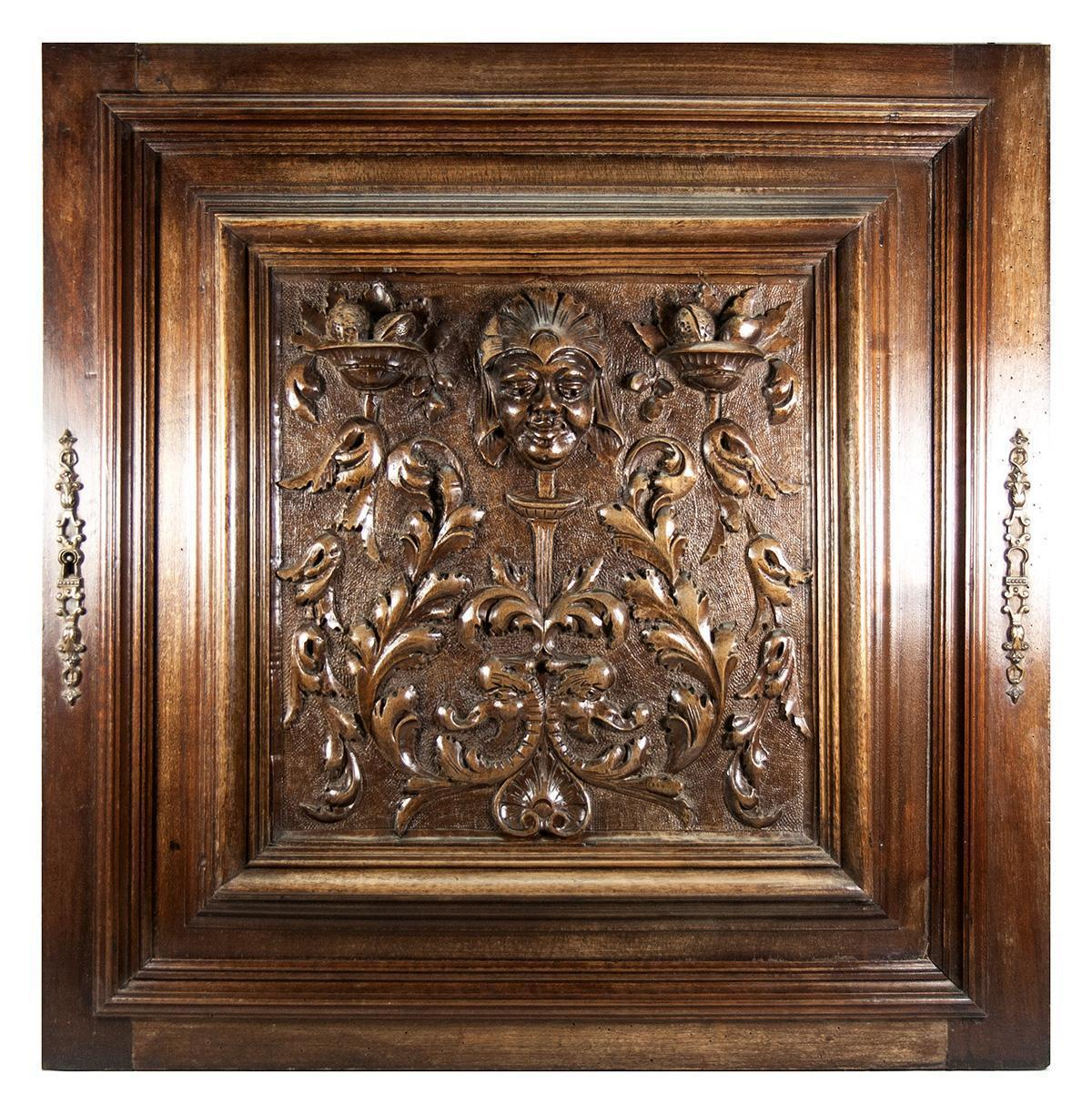 Opulent Hand Carved Antique Cabinet Door, Plaque, Neo Renaissance Style,  Figural
