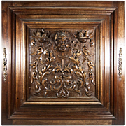 SALE Opulent Hand Carved Antique Cabinet Door, Plaque in Neo-Renaissance Manner, Figural