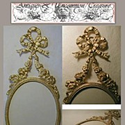 SOLD Fine Antique French Ormolu Frame, Bowtop & Garland