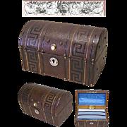 SALE Superb Antique French Tooled Leather Stationery/Desk Box/Casket, MOP!