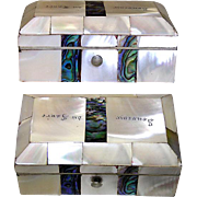 SALE Antique French Mother of Pearl and Abalone Casket, Souvenir of the Loire Valley