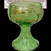 SALE Antique Green Glass Goblet or Sorbet Cup, Raised Gold Enamel