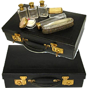 """SALE Antique French 18"""" Travel Case, Valise or Necessaire w/ Jars!"""
