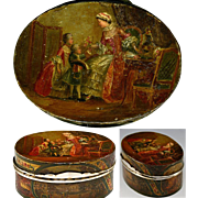 SALE RARE Antique Vernis Martin 1700s Table Snuff, Etui - Marie-Antoinette & Versailles painti