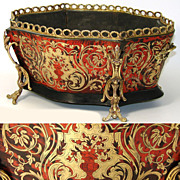"""SALE Antique French 16"""" Boulle Jardiniere, Ornate Brass & Shell Inlay"""