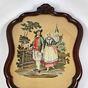 SOLD Antique Breton French Costumes, Walnut Frame, Needlepoint, Needlework