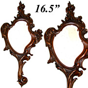"SALE Antique Victorian Era Hand Carved 16.5"" Vanity or Hand Mirror, Frame - Very French ."