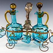 SALE Antique French Electric Blue Liqueur Cabaret Set, Ormolu Frame - 2 Decanters, 8 Cups